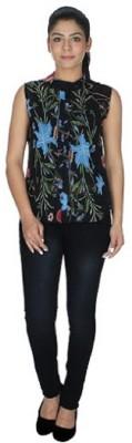 gsi Casual Sleeveless Printed Women,s Black Top
