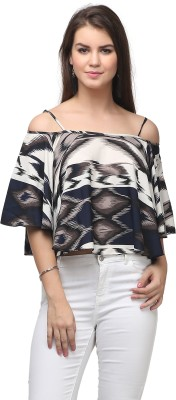 Eavan Casual Kimono Sleeve Printed Women's Black, White Top
