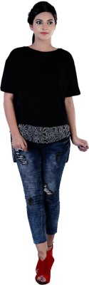 Divaz Fashion Casual, Party Short Sleeve Solid Women's Black Top
