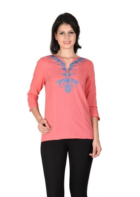 Latin Quarters Casual 3/4 Sleeve Embroidered Women,s Orange Top