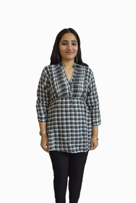 Vedic Deals Casual 3/4 Sleeve Checkered Women's Black Top