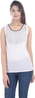 Sunshine Casual Sleeveless Solid Women's White Top