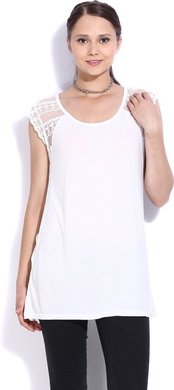 United Colors of Benetton Casual Cap Sleeve Solid Women's White...