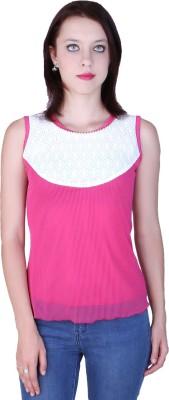 Zavi Casual Sleeveless Solid Women's Pink, White Top