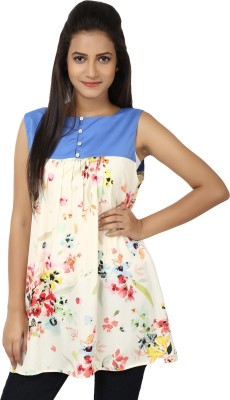 Whistle Casual Sleeveless Floral Print Women's Blue, White Top