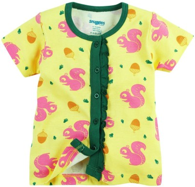 Snuggles Casual Short Sleeve Printed Baby Girl's Yellow Top