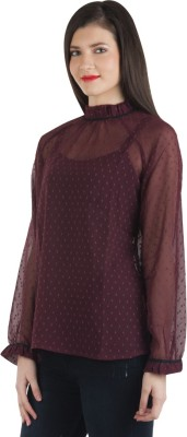 Fashionholic Casual Balloon Sleeve Self Design Women's Maroon Top