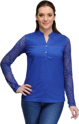 India Inc Casual Full Sleeve Solid Women's Blue Top