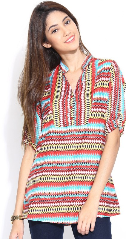 Shopaholic Casual Short Sleeve Printed Women's Red, Blue Top