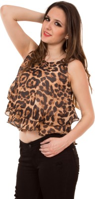Showoff Casual Sleeveless Printed Women's Brown Top