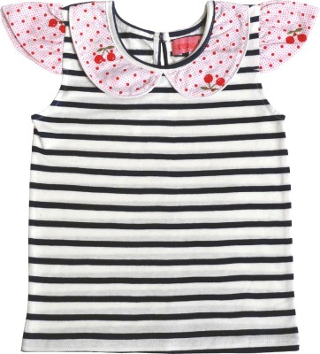 Always Kids Casual, Festive, Party Cap sleeve Striped Girl's Blue Top