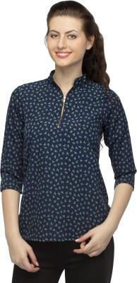 Bantry Casual 3/4 Sleeve Self Design Women's Blue Top