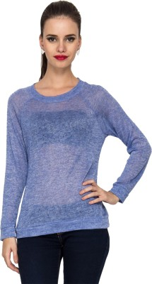 Kaxiaa Casual Full Sleeve Solid Women's Blue Top
