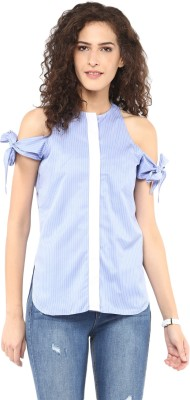 Roving Mode Casual Cap sleeve Striped Women's Blue Top