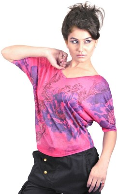 My Hollywood Shop Casual 3/4 Sleeve Printed Women's Purple Top
