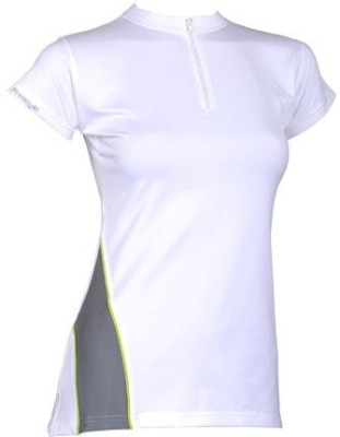 Freestyle Sports, Casual Short Sleeve Solid, Striped Women's White Top