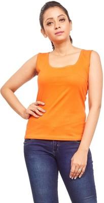 ELINA Casual, Party, Sports, Lounge Wear, Beach Wear Sleeveless Solid Women's Orange Top