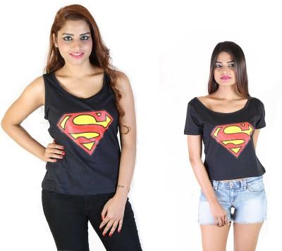 Fashion Fakir Casual Sleeveless, Short Sleeve Printed Women's Black Top
