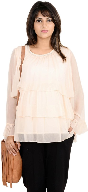 9teenAGAIN Casual Full Sleeve Solid Women's Beige Top