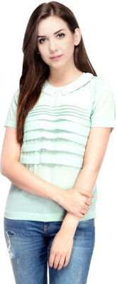 Oranje Casual Short Sleeve Solid Women's Multicolor Top