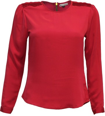 Attuendo Formal Full Sleeve Solid Women's Red Top