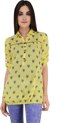 Terquois Casual 3/4 Sleeve Printed Women's Yellow Top