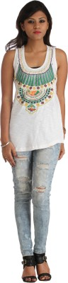 HERITAGE TYCOON Casual Sleeveless Woven Women's White Top