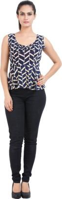 Prnas Casual Sleeveless Harringbone Women's Dark Blue Top