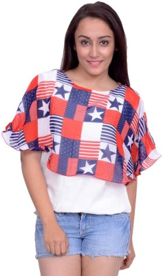 Snoby Casual Butterfly Sleeve Printed Women's Multicolor Top