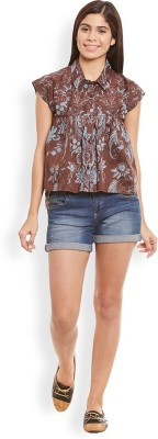 Anasazi Casual Cap sleeve Printed Women's Brown Top