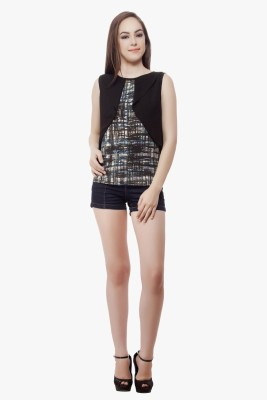 Miss Queen Casual Sleeveless Checkered Women's Black Top