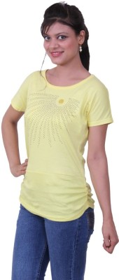 Austrich Casual Short Sleeve Solid Women's Yellow Top