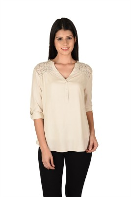 French Creations Casual Roll-up Sleeve Solid Women's Beige Top