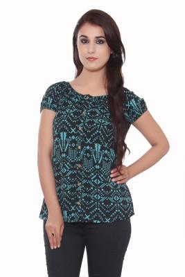 GMI Casual Short Sleeve Printed Women's Light Green Top