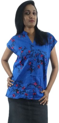 ShopMore Casual Sleeveless Floral Print Women's Blue Top