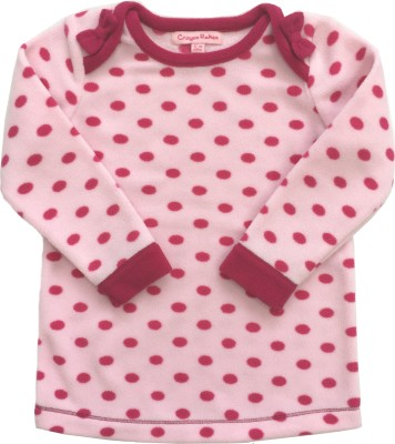 Crayon Flakes Casual Full Sleeve Polka Print Baby Girl,s Pink Top