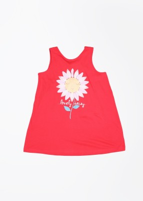 United Colors of Benetton Casual Sleeveless Printed Girl's Red Top