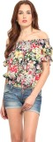 Blue Sequin Casual Short Sleeve Floral P...