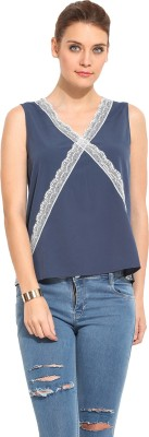 Rena Love Casual Sleeveless Solid Women's Blue Top