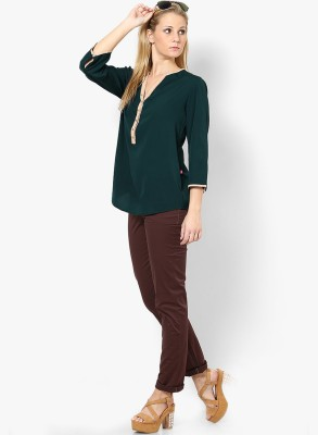 Tops and Tunics Casual 3/4 Sleeve Solid Women's Dark Green Top