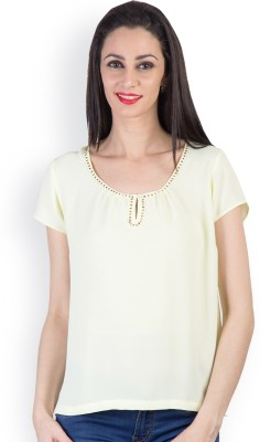 Tops and Tunics Casual Short Sleeve Solid Women's Yellow Top