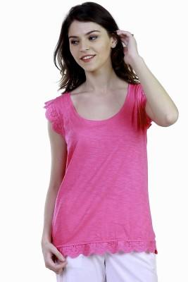 Caribbean Joe Beach Wear Sleeveless Solid Women's Pink Top
