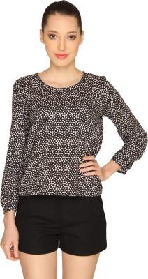 Ashtag Casual Full Sleeve Polka Print Women's Black, White Top