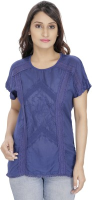 Franclo Casual Short Sleeve Embroidered Women's Blue Top