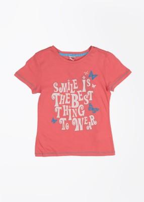 Puma Casual Short Sleeve Printed Girl's Pink Top