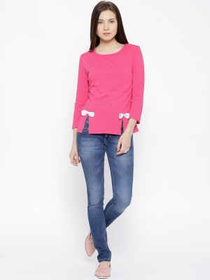 Citrine Casual 3/4 Sleeve Solid Women's Pink Top