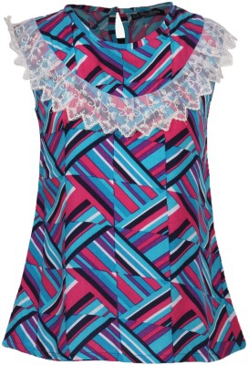 Cool Quotient Casual Sleeveless Printed Girl's Blue Top