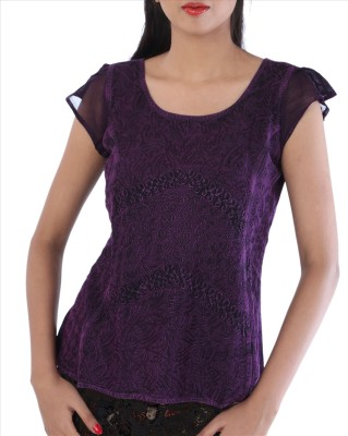 Skirts & Scarves Casual, Beach Wear Cape Sleeve Embroidered Women's Purple Top