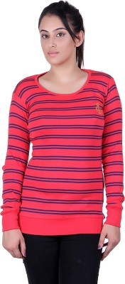 Oner Party, Casual, Sports, Festive Full Sleeve Solid, Striped Women's Blue, Red Top