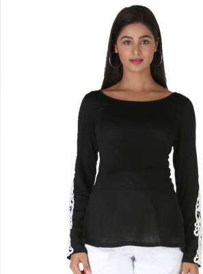 Morph Maternity Casual Full Sleeve Solid Women's Black Top